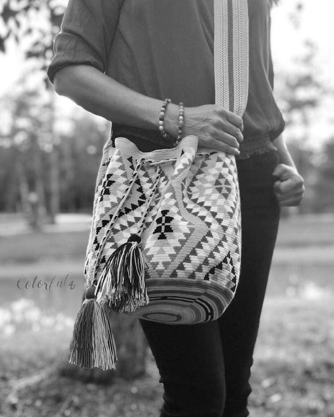 Sky Blue Premium Crochet Bags-Crossbody Boho Bag- Wayuu Bohemian Bag