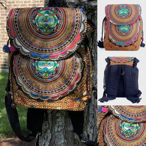Colorful Bohemian Backpacks - Embroidered Boho Backpack-Multicolor