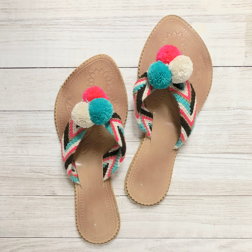 Cotton Candy Skies Pom Pom Sandals - Summer Flip Flops SWP008