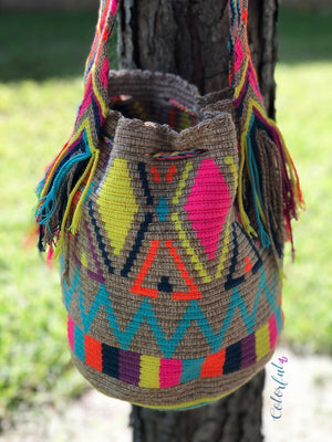 Colorful Crochet Boho Bag - Crossbody Bucket Style -Beach Bag Wayuu