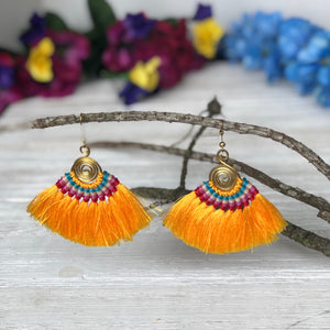 YELLOW Tassel Earrings-Woven Silk Thread Fringe Earrings-Tribal-Boho