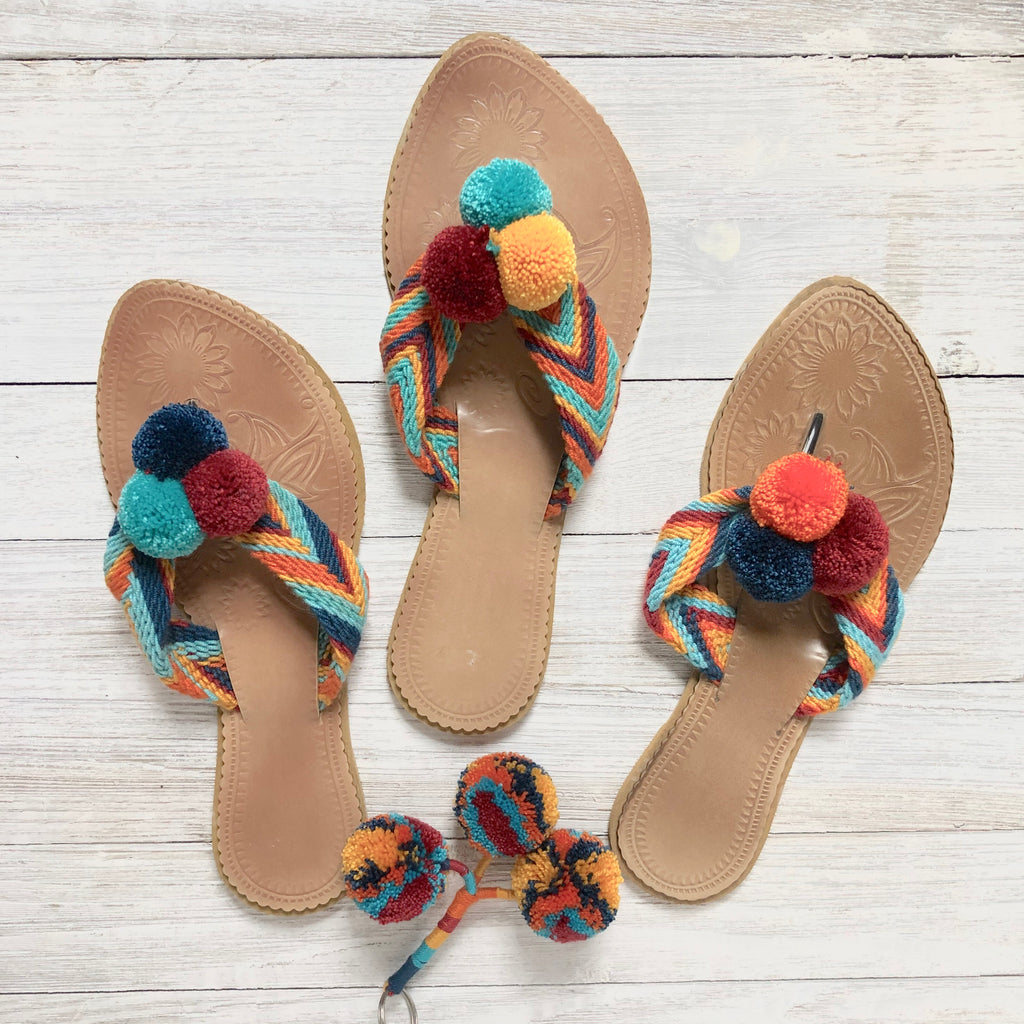 Colorful Pom Pom Sandals-Summer Flip Flops-Beach Slides-Flat Sandals