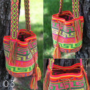 SUMMER Medium Crossbody Crochet Crystal Bag-Bohemian Beach Bag-Boho Bag-Wayuu