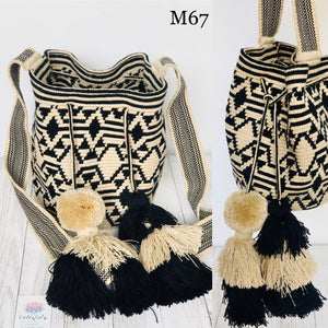 Medium White and Black Tassel Bag - Crochet Bag - Crossbody Fashion Bag-Wayuu