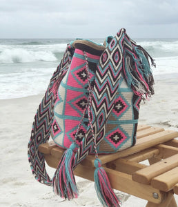 Crossbody Summer Bag | Beach Crochet Bag | Hot Pink-Turquoise Boho Bag on the beach