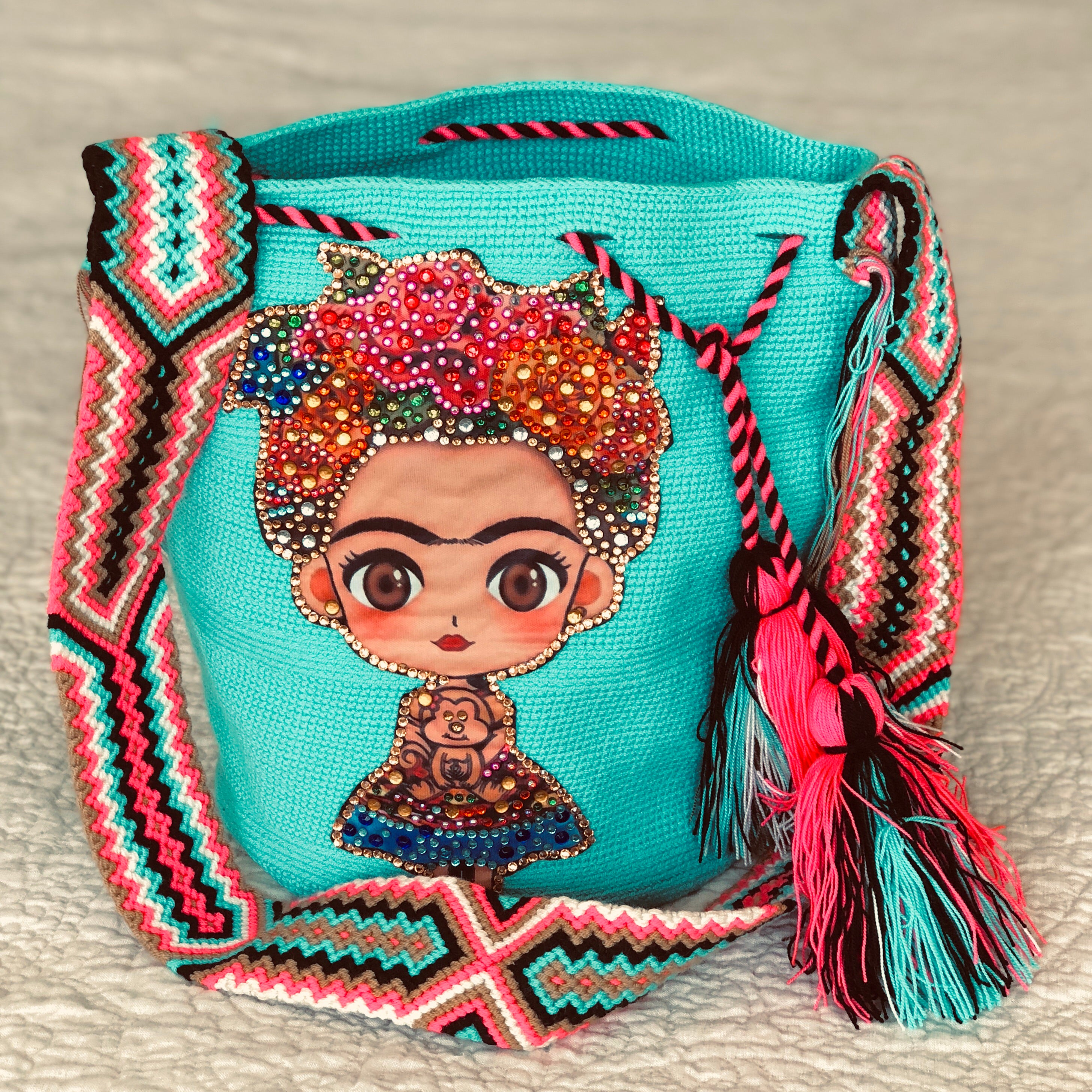 TURQUOISE  FRIDA Inspired Crochet Bag - Crossbody Bucket Bag-Boho -Wayuu
