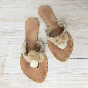 Nude Sandals-Tan Pom Pom Flip Flops-Summer Flats-Beach Slides-Wayuu