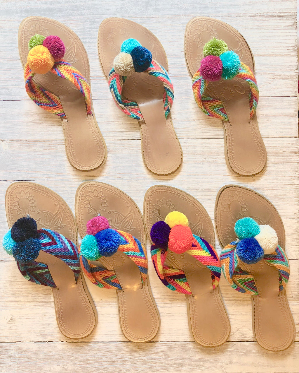 Colorful Pom Pom Sandals-Summer Flip-Flops. SWP