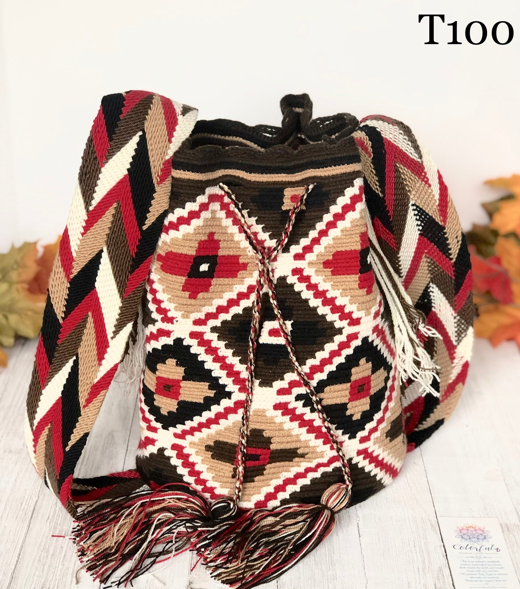 Red Flowers Handbag for Fall/Winter | Crossbody Crochet Bag | Boho Bag | Wayuu Mochila