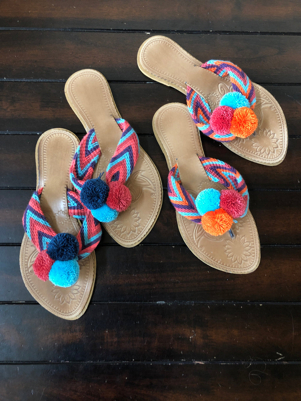 Colorful Handwoven Flip-Flops - Pom Pom Sandals SWP005