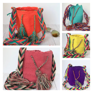 Solid Mini Crochet Bags-Small Wayuu Bags-Girls Summer Crossbody Bags