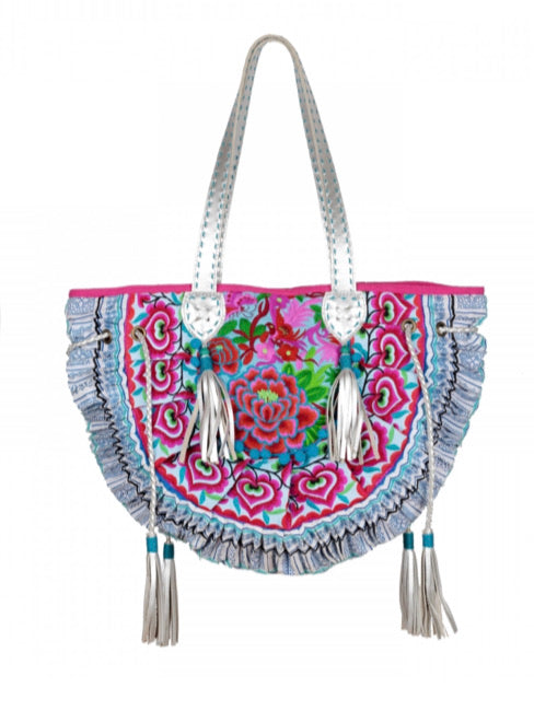 Colorful Embroidered Tote Bag with leather handles