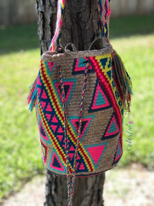 Colorful Crochet Bag - Crossbody Boho Bag -  Shades of Brown Style MWM0086