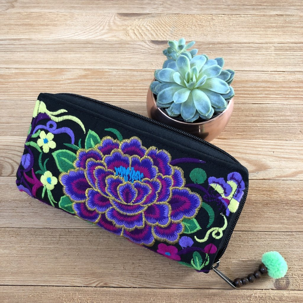 Purple Embroidered Bohemian Wallet- Boho Chic Clutch Bag- Boho Wallet