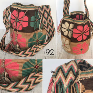 Colorful 4U | Desert Dreams Collection | Crossbody Boho Bags for Fall | Wayuu Mochila | Bohemian Bucket Bag 92-flowers