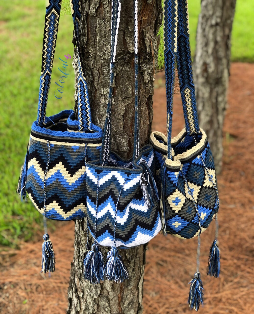 Blue Medium Crochet Bag-Bag-Crossbody Boho Bag-Bohemian Bag-Wayuu Bag