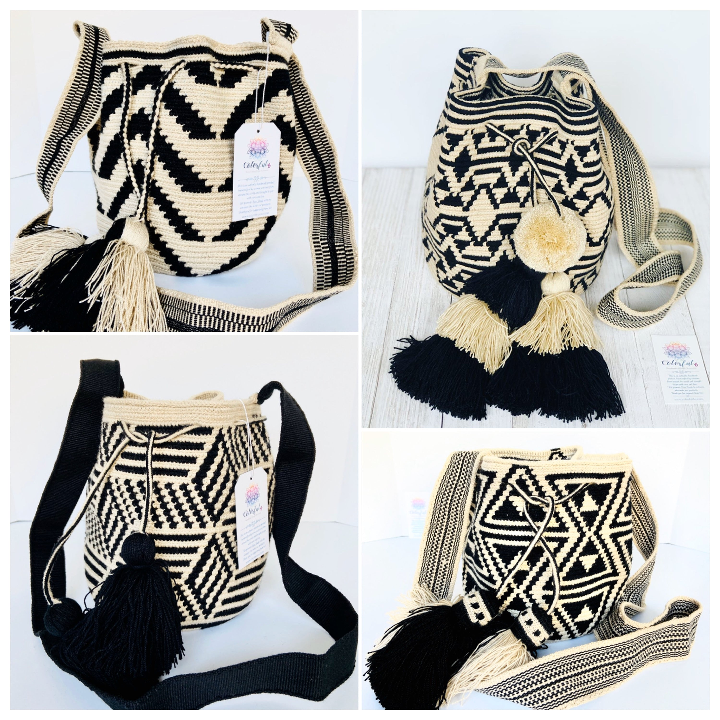 Medium White and Black Bag - Crochet Bag - Crossbody Fashion Bag-Wayuu