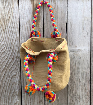 Braided Handle Boho Bag -Crochet Pompom Handbag - Bohemian Bag -Wayuu