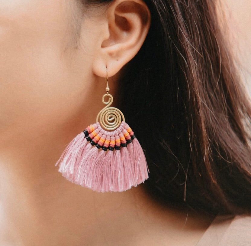 PINK Tassel Earrings-Woven Silk Thread Fringe Earrings-Tribal-Boho