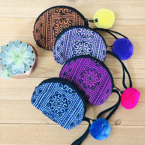 Colorful Embroidered Coin Purses-Bohemian Mini Purse-Boho Chic Wristlet