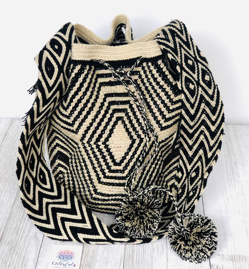 Black and White Crystal-Embellished Crochet Bag-Luxury and Stylish Bag
