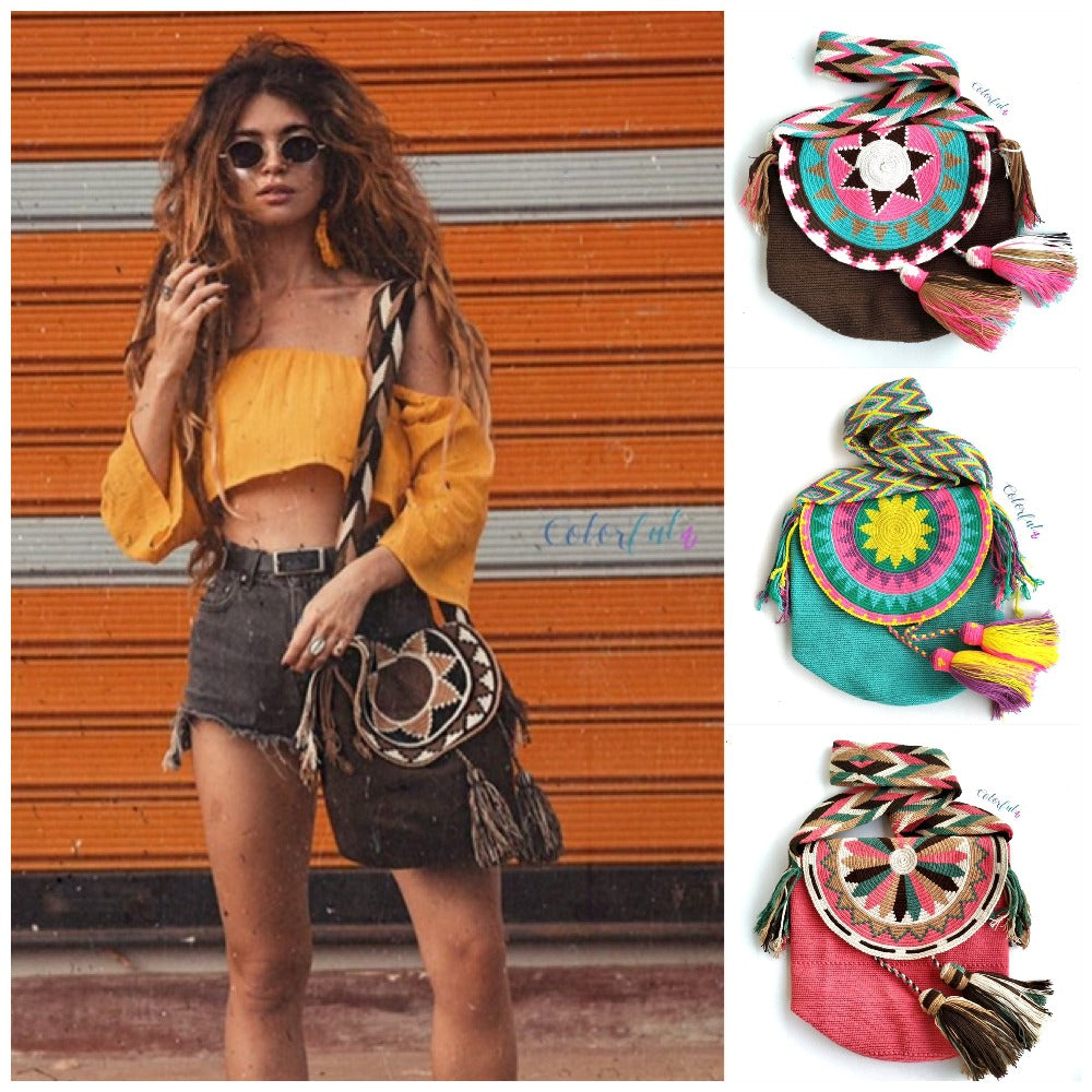 Colorful 4U Crochet Bag w/ Cover | Crossbody Bohemian Bag | Casual Bag