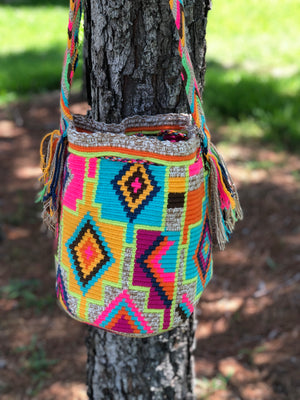 Colorful Crochet Bag - Crossbody Boho Bag -  Shades of Brown Style MWM0071