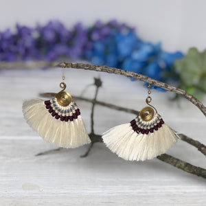 CREAM Tassel Earrings-Woven Silk Thread Fringe Earrings-Tribal-Boho