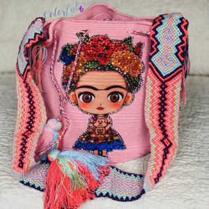 Pink FRIDA Crochet Bag - Crossbody/Shoulder Bucket Bag-Boho Bag-Wayuu Bag