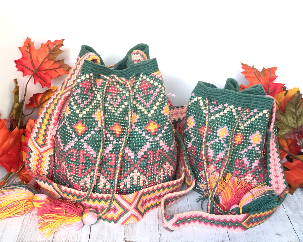 Crystal Embellished Crochet Bags | Olive green Wayuu with Crystals
