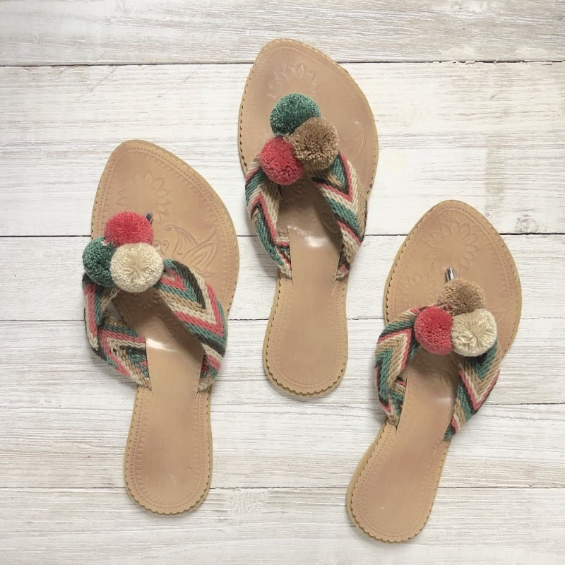 Pom Pom Sandals-Summer Flip Flops -Beach Slides-Cute Sandals-Flats
