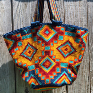 Beach Crochet Tote Bag - Navy Wayuu Beach Bag-Colorful Summer Bag