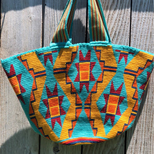 Beach Crochet Tote Bag - Turquoise Wayuu Beach Bag-Colorful Summer Bag
