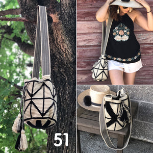 Wearing Off-White & Black - Crochet Fashion Bag - Crossbody Boho-Wayuu Mochila