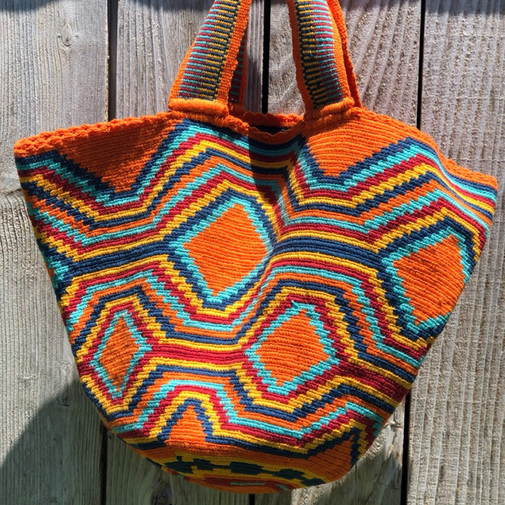 Beach Crochet Tote Bag - Orange Wayuu Beach Bag-Colorful Summer Bag