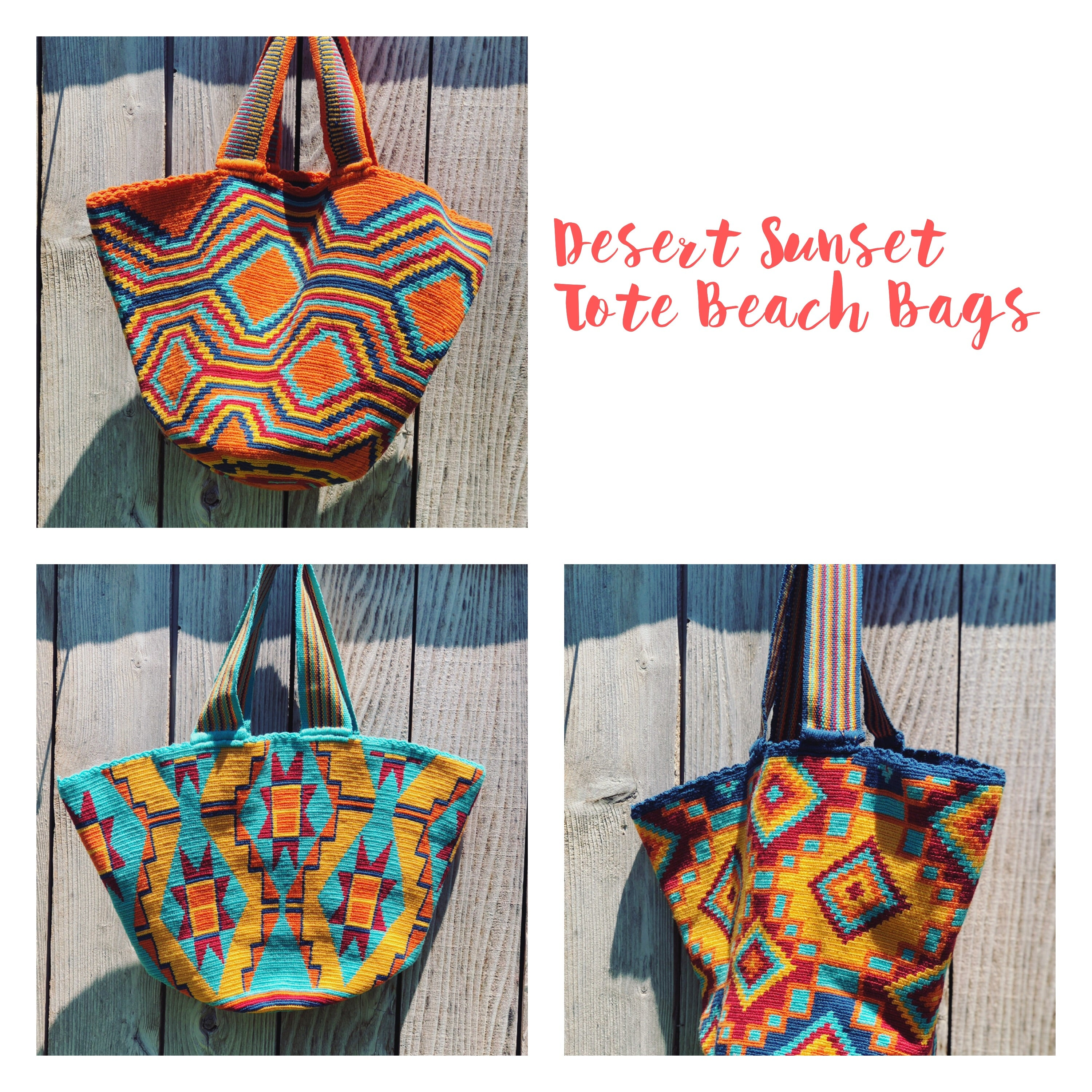 Beach Crochet Tote Bag - Authentic Wayuu Beach Bag-Colorful Summer Bag