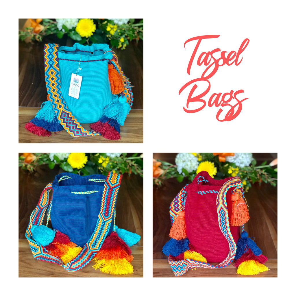 Colorful Crochet Tassel Bags - Desert Sunset
