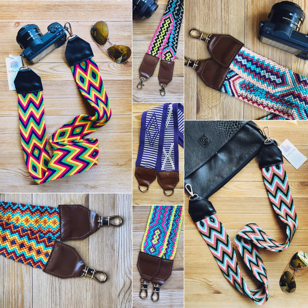 Colorful Bag Strap-Camera Strap-Strap Replacement-Woven-leather-vegan