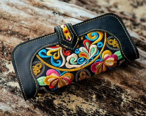 Bohemian Embroidered Wallet - Handmade Leather Wallet