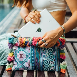 Bohemian Clutch with Colorful Tassels- Boho Clutch Bag-Vintage Ipad Case-front view