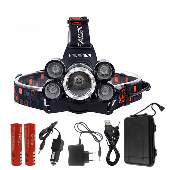 PREP  'THE BIG BOY' - ZOOMABLE WATERPROOF 5X CREE T6 SUPER HEADLAMP PACKAGE