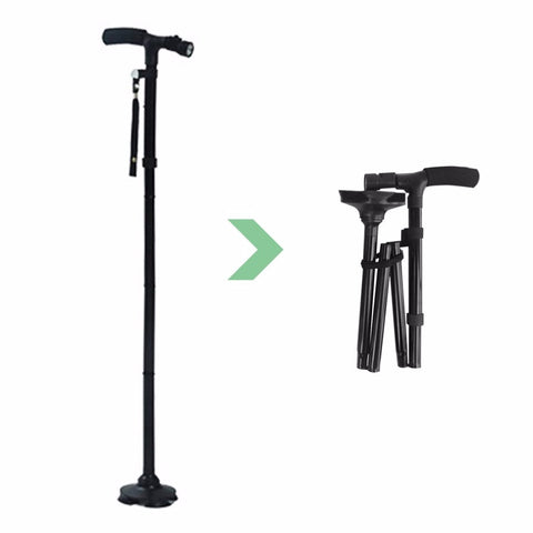 Lightweight Folding Walking/Trekking Stick With 6 LED Flashlight Incorporated for Seniors