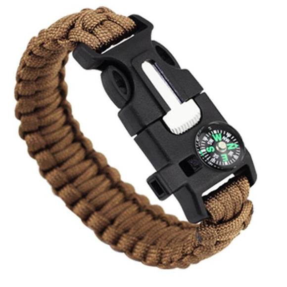 5 IN 1 EMERGENCY SURVIVAL BRACELET - PARACORD, COMPASS, FIRE STARTER, LOUD WHISTLE, EMERGENCY KNIFE