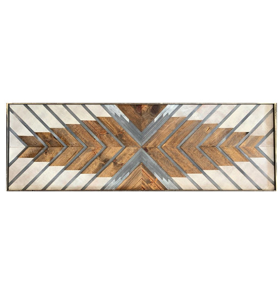 Reclaimed wood art: Arms Wide Open, approx 24x72 inches