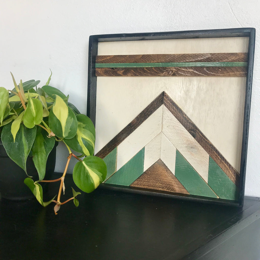 Wood art: Bluff Quilt Square, green accent