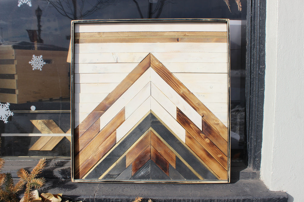 Reclaimed wood art: 2x2 ft Bluff