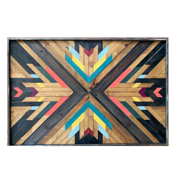 Reclaimed wood art: AWE & WONDER series, approx 52x35