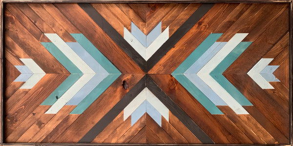 "Wood Mosiac art: ""Call it Intuition"" natural and teals/blues"