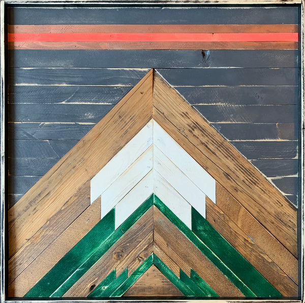 Reclaimed wood art: 2x2 ft Bluff, green mountains. Coral and blush pink sunset