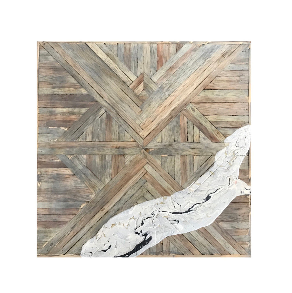 Wood mosaic: Raw Collection, 2x2 ft gray with marbling